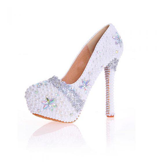 Charmant Ivoire Perle Faux Diamant Chaussure De Mariée 2020 Cuir Imperméables 14 cm Talons Aiguilles À Bout Pointu Mariage Escarpins