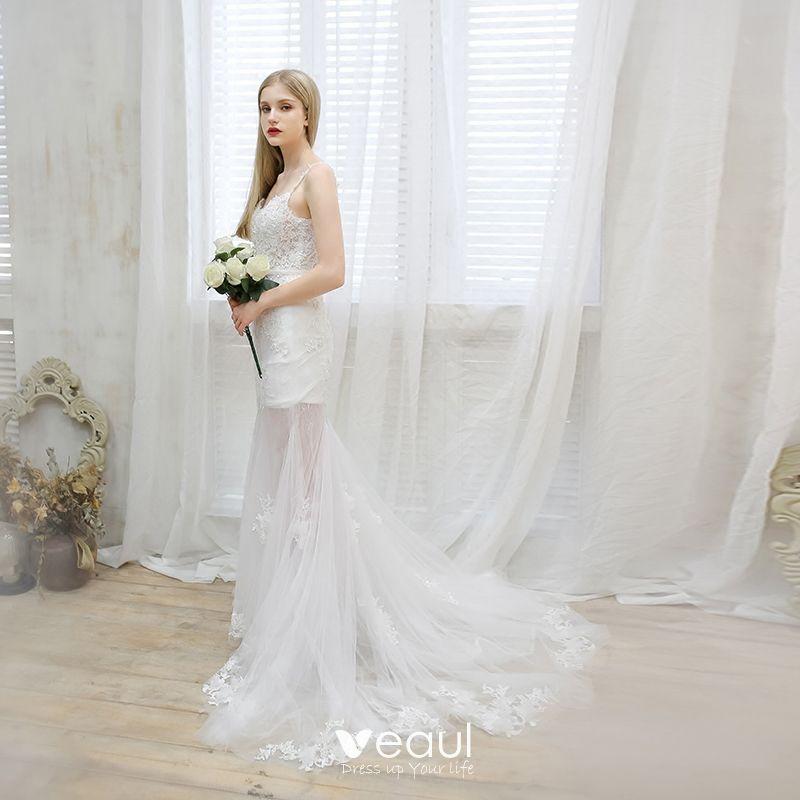 388848bf70c77 Chic / Beautiful Beach Wedding Dresses 2017 White Trumpet / Mermaid Court  Train Sleeveless Spaghetti Straps V-Neck Backless Sash Pearl Lace Appliques