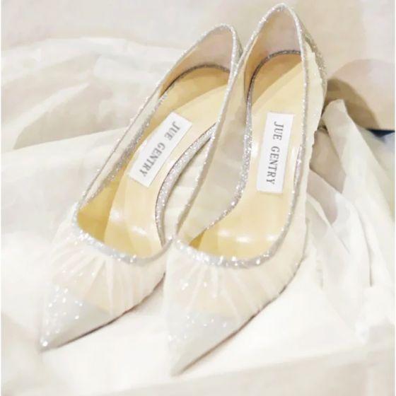 Charmant Ivoire Dentelle Chaussure De Mariée 2021 Paillettes 8 cm Talons Aiguilles À Bout Pointu Mariage Escarpins Talons Hauts