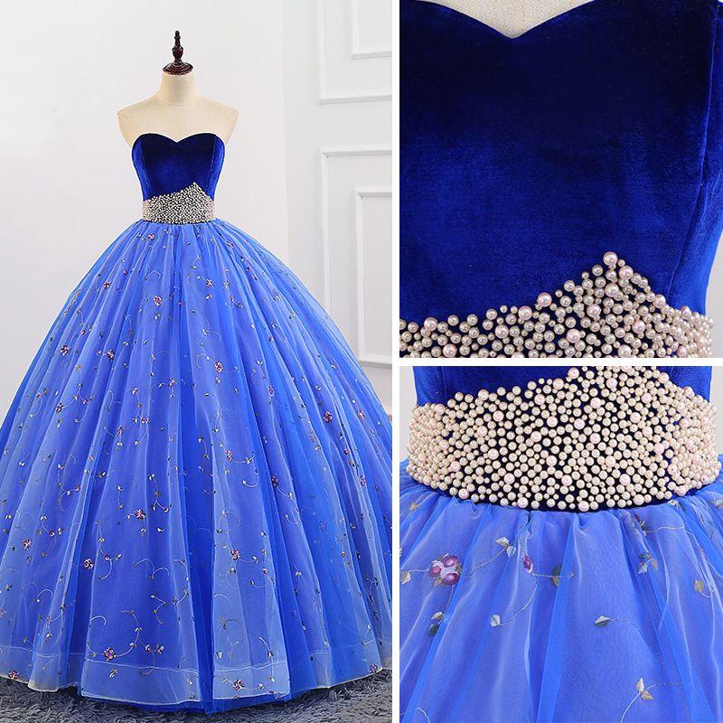 Elegante Königliches Blau Quinceañera Ballkleider 2018 Ballkleid Stickerei Perle Wildleder Herz-Ausschnitt Rückenfreies Ärmellos Lange Festliche Kleider