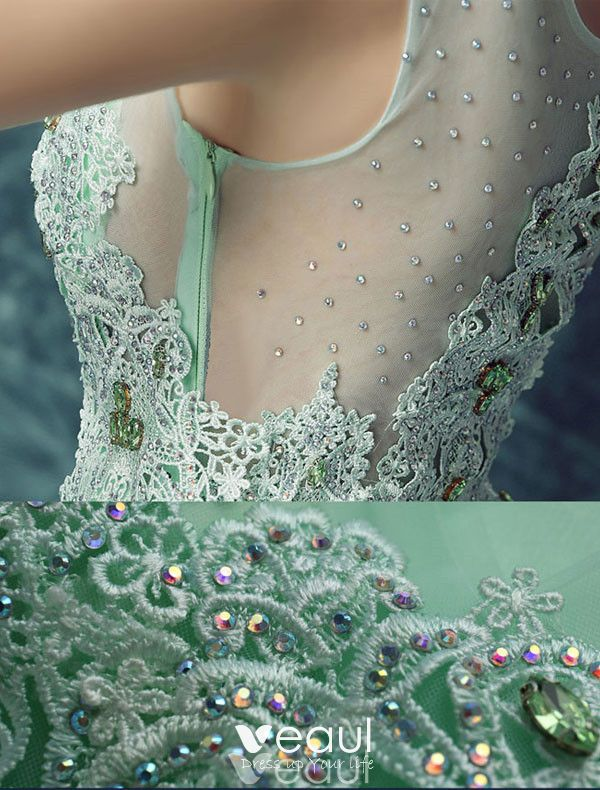 Sexy Long Lace Evening Dress Green Formal Dress Beaded Crystal