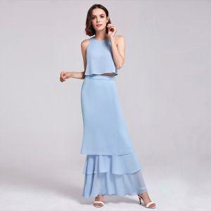 2 Piece Sky Blue Chiffon Bridesmaid Dresses 2019 A-Line / Princess Scoop Neck Sleeveless Floor-Length / Long Cascading Ruffles Backless Wedding Party Dresses