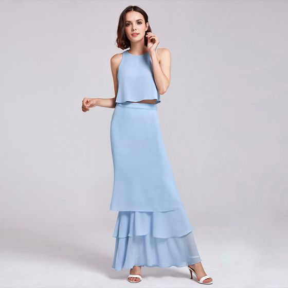 2 Piece Sky Blue Chiffon Bridesmaid Dresses 2019 A-Line / Princess Scoop Neck Sleeveless Floor-Length / Long Cascading Ruffles Backless Wedding Party Dresses
