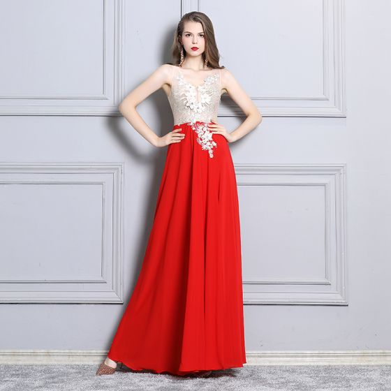 Sexy Red Evening Dresses  2019 A-Line / Princess Appliques Lace Rhinestone V-Neck Sleeveless Backless Split Front Floor-Length / Long Formal Dresses
