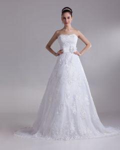Cariño Apliques Longitud Del Piso Elegante Encaje Un Vestido De Novia De Línea A