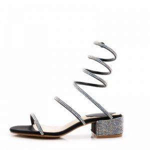 Amazing / Unique 2017 Silver Outdoor / Garden Leather Red Champagne Summer Rhinestone Low Heels / Kitten Heels Sandals Open / Peep Toe Womens Sandals