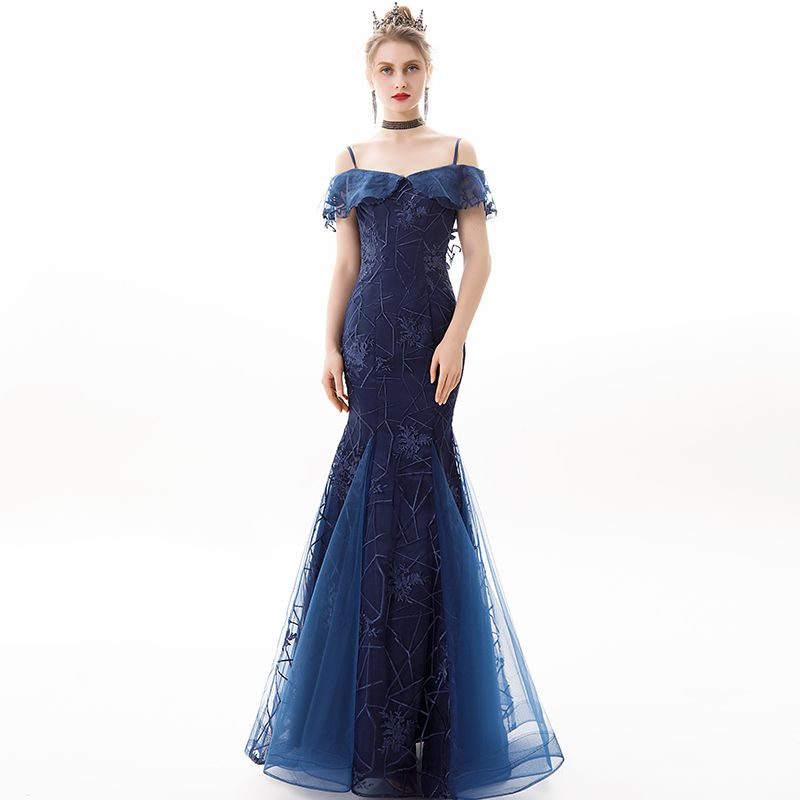 Charming Navy Blue Evening Dresses  2019 Trumpet / Mermaid Off-The-Shoulder Lace Flower Short Sleeve Backless Floor-Length / Long Formal Dresses