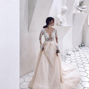 Iluzja Szampan Przezroczyste Suknie Ślubne 2019 Princessa Głęboki V-Szyja Długie Rękawy Aplikacje Z Koronki Frezowanie Trenem Katedra Wzburzyć