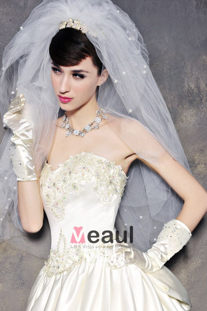 Satin Tulle Lace Beading Bowknot Embroidery Sweetheart Floor Length Cathedral Train A-Line Wedding Dress