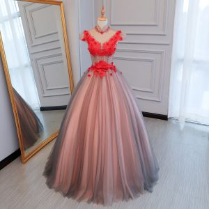 Chic / Beautiful Red Prom Dresses 2017 Ball Gown High Neck Cap Sleeves Appliques Lace Beading Crystal Bow Sash Floor-Length / Long Backless Pierced Formal Dresses