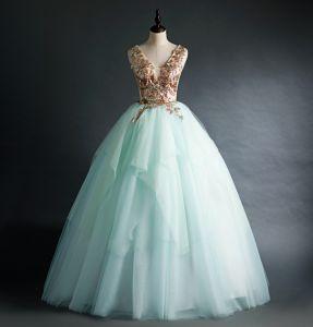 Elegant Mint Green Prom Dresses 2020 Ball Gown V-Neck Sequins Sleeveless Backless Floor-Length / Long Formal Dresses