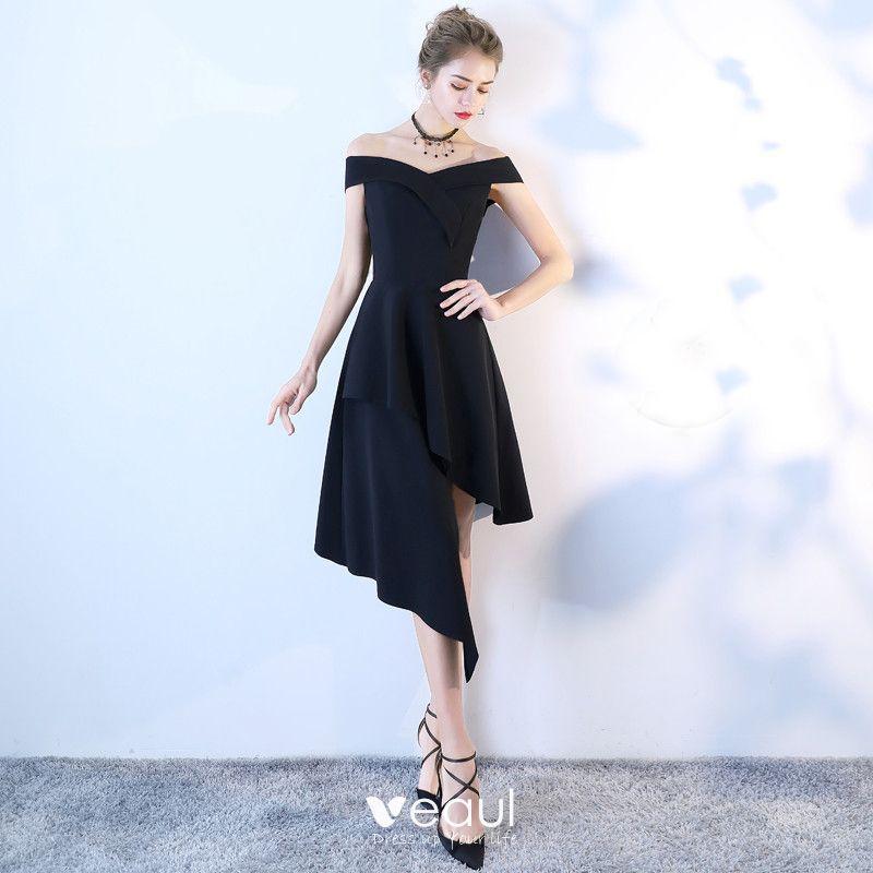 único Negro Vestido Alto De Fiesta Vestidos De Graduación 2018 A Line Princess Fuera Del Hombro Sin Espalda Sin Mangas Por La Rodilla Vestidos