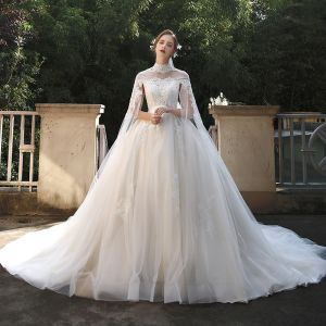 Vintage / Retro Ivory Pregnant Bridal Wedding Dresses 2020 Ball Gown High Neck Beading Appliques Lace Flower Pearl 1/2 Sleeves Backless Watteau Train