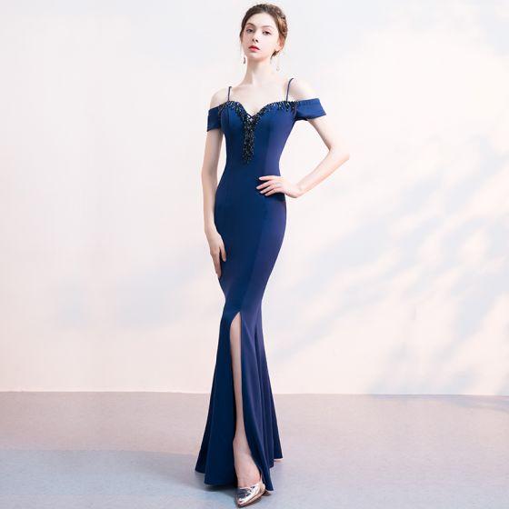 Encantador Marino Oscuro Vestidos de noche 2019 Trumpet / Mermaid Spaghetti Straps Rebordear Crystal Tassel Sin Espalda Largos Vestidos Formales