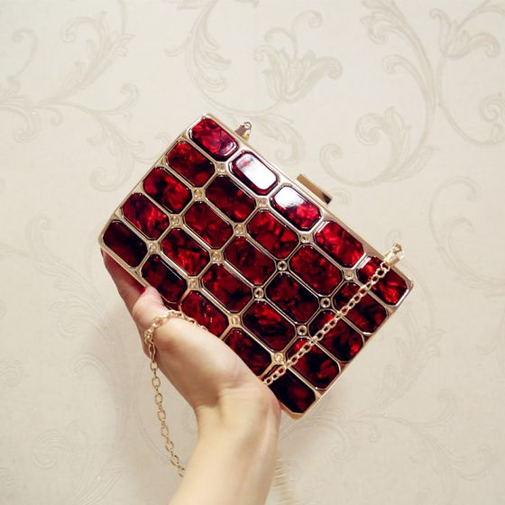 Chic / Beautiful Burgundy Beading Acrylic Metal Clutch Bags 2018
