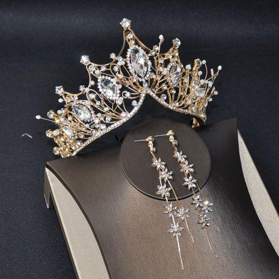 Clásico Oro Joyas 2020 Metal Rebordear Rhinestone Tiara Flor Tassel Pendientes Tocados de novia