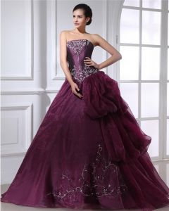 Ball Gown Taffeta Organza Applique Ruffle Beading Strapless Floor Length Quinceanera Prom Dresses