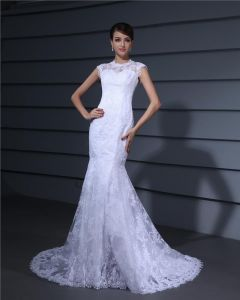 Jewel Embroidery Floor Length Lace Woman Mermaid Wedding Dress
