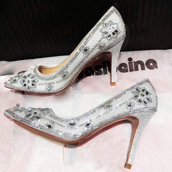 Fine Sølv Brudesko 2019 Krystall Rhinestone 9 cm Stiletthæler Spisse Bryllup Pumps