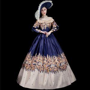 robe bleu marine longue satin