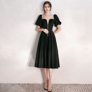 Fashion Black Suede Homecoming Graduation Dresses 2020 A-Line / Princess Square Neckline Puffy Short Sleeve Tea-length Ruffle Backless Formal Dresses