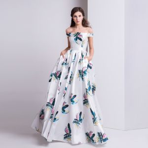 Modern / Fashion Ivory Evening Dresses  2019 A-Line / Princess Off-The-Shoulder Printing Short Sleeve Backless Floor-Length / Long Formal Dresses