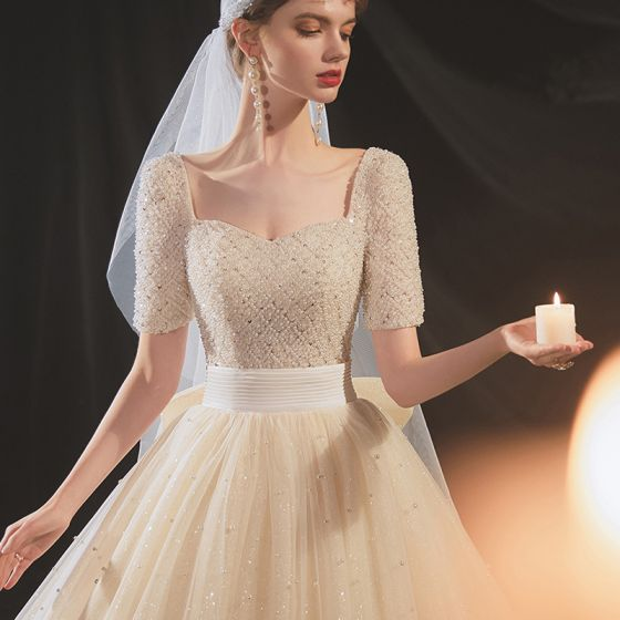 Glamorous Champagne Pearl Bridal Wedding Dresses 2020 A-Line / Princess Short Sleeve Square Neckline Beading Crossed Straps Sparkly Tulle Beach Chapel Train Bow Sash