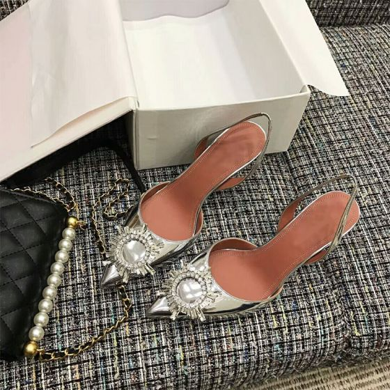 Chic / Beautiful Silver Evening Party Womens Shoes 2019 Rhinestone 10 cm Stiletto Heels Pointed Toe High Heels