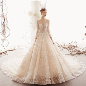 Illusion Champagne See-through Wedding Dresses 2019 Princess Scoop Neck Puffy 3/4 Sleeve Backless Glitter Tulle Appliques Lace Beading Royal Train