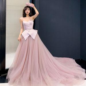 Charmant Rougissant Rose Robe De Soirée 2019 Princesse Bretelles Spaghetti Sans Manches Noeud Ceinture Tribunal Train Volants Dos Nu Robe De Ceremonie