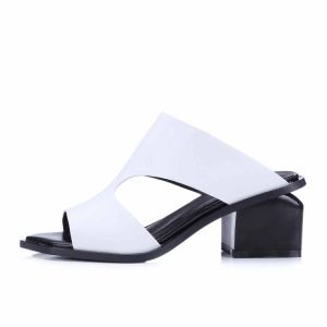 Schöne Mittel-Heels Sandalen Damen 2017 Leder Handgefertigt Thick Heels Peeptoes Garten / Im Freien Sandaletten