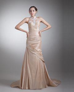 Taffetas Perles Ruffle Cour Train Robe  Meres Genou De Robes De Mariée Invites