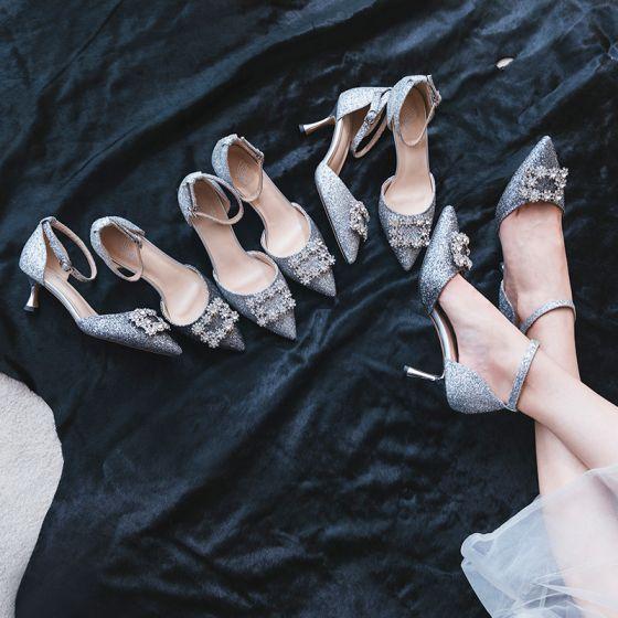 Sparkly Sølv Brudesko 2019 Rhinestone Paljetter Ankelstropp 7 cm Stiletthæler Spisse Bryllup Høyhælte
