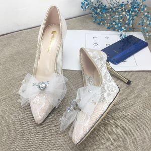 Charming Ivory Lace Wedding Shoes 2020 Bow Rhinestone 8 cm Stiletto Heels Pointed Toe Wedding Pumps