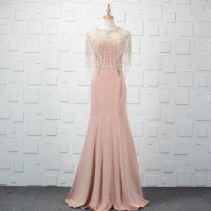 Mode 2 Stück Perlenstickerei Pearl Rosa Abendkleider 2019 Meerjungfrau Kristall Strass Quaste Rundhalsausschnitt Ärmellos Lange Festliche Kleider
