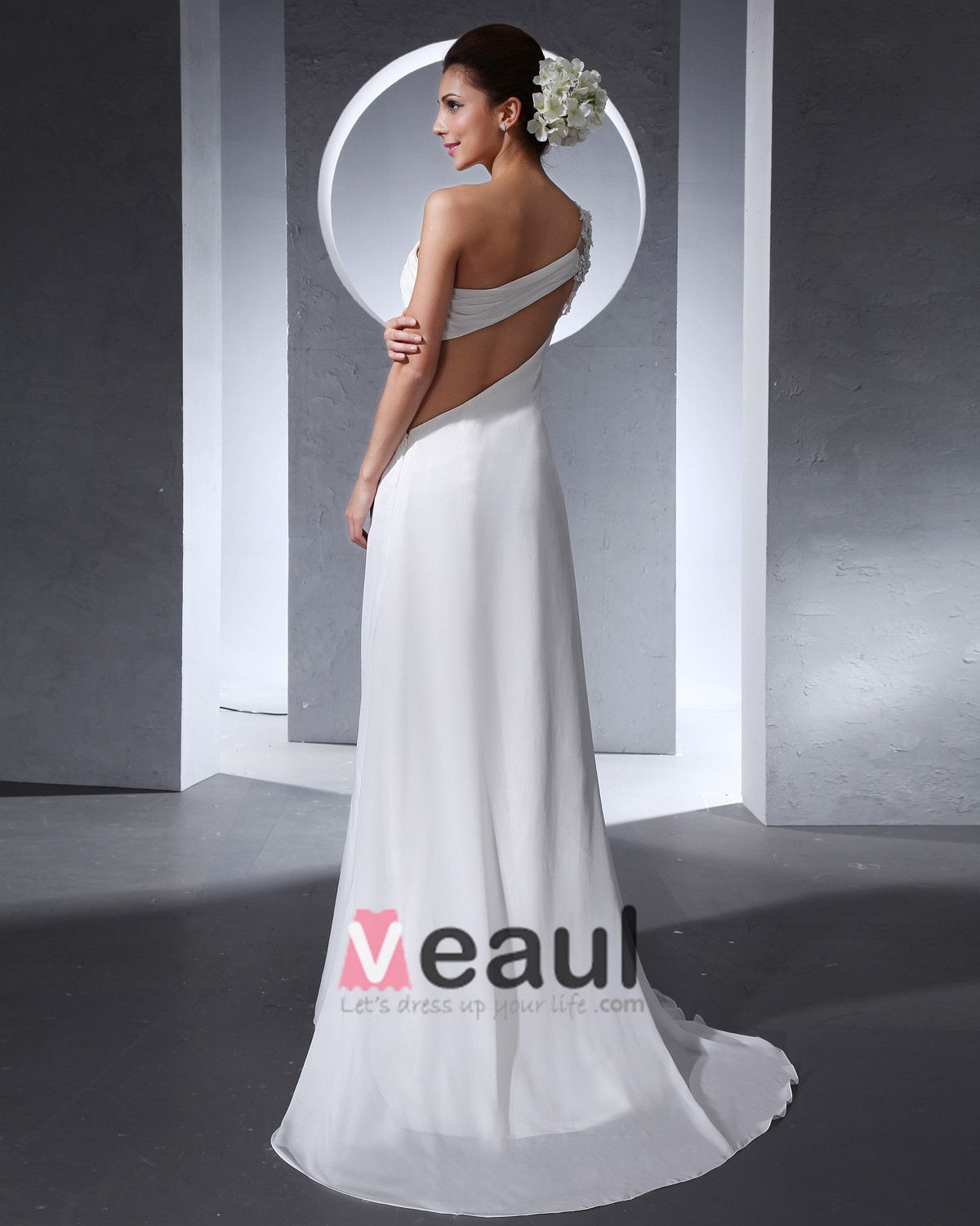 One Shoulder Pleated Floor Length Chiffon Woman Empire Wedding Dress