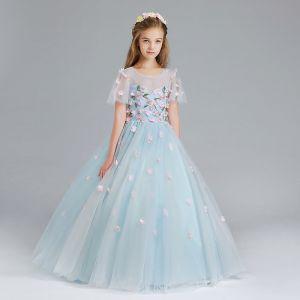 Schöne Himmelblau Mädchenkleider 2017 Ballkleid Rundhalsausschnitt Kurze Ärmel Applikationen Blumen Lange Rüschen Durchbohrt Kleider Für Hochzeit