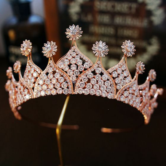 Luxury / Gorgeous Gold Rhinestone Tiara 2019 Metal Bridal Hair Accessories