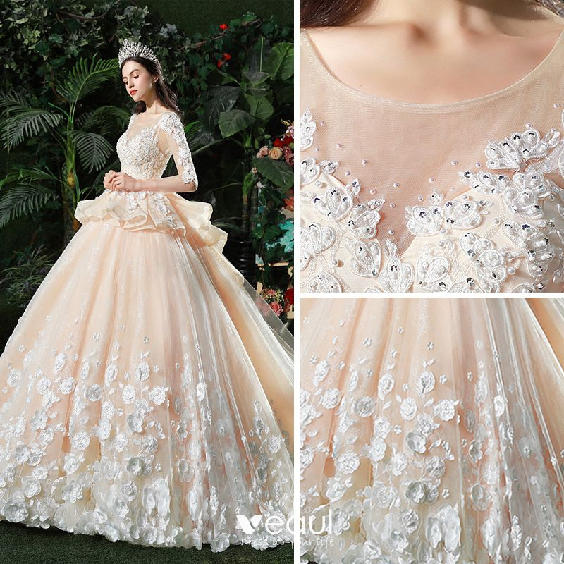 Champagne Ball Gown Wedding Dresses: Stunning Champagne Pierced Wedding Dresses 2018 Ball Gown