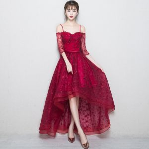 Chic / Beautiful Burgundy Evening Dresses  2018 A-Line / Princess Lace Flower Spaghetti Straps Backless 3/4 Sleeve Asymmetrical Formal Dresses