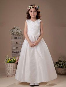 White Sleeveless V-Neck Flower Decorated Beaded Taffeta Flower Girl Dress