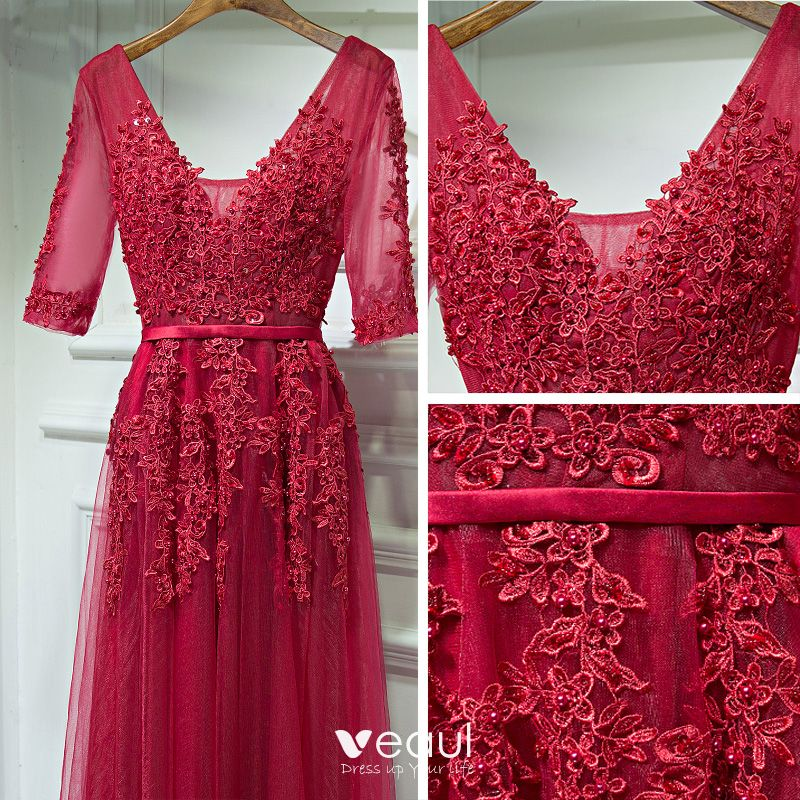 Chic / Beautiful Red Prom Dresses 2017 Lace Flower Beading Backless V-Neck 1/2 Sleeves Floor-Length / Long A-Line / Princess Formal Dresses