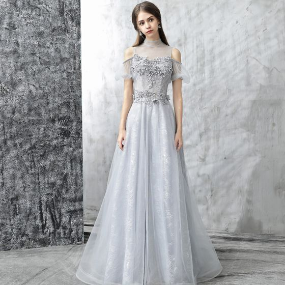 Chic / Beautiful Evening Dresses  2017 Grey A-Line / Princess Floor-Length / Long Cascading Ruffles High Neck Short Sleeve Backless Pierced Appliques Flower Pearl Rhinestone Formal Dresses