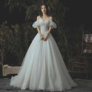 Elegant Ivory Corset Wedding Dresses 2019 A-Line / Princess Lace Appliques Beading Crystal Off-The-Shoulder Backless Sleeveless Chapel Train