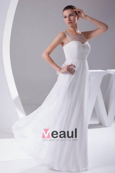 Elegant Chiffon Charmeuse Tulle Quadratischen Ausschnitt Bodenlangen Frauen Hochzeitskleid