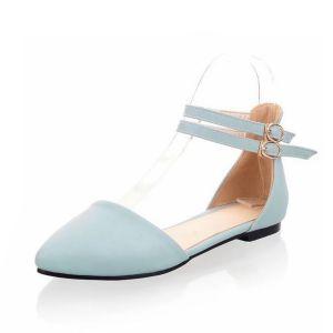 Mooie Dames Sandalen Hemelsblauw Platte Hak Schoenen