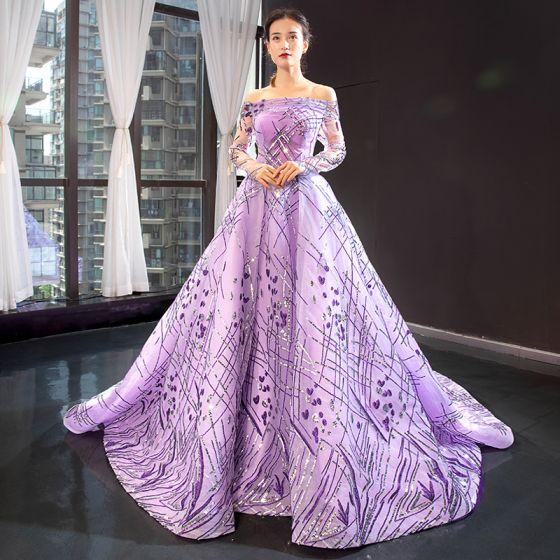 Haut de Gamme Lilas Transparentes Robe De Soirée 2020 Princesse De l'épaule Manches Longues Paillettes Tribunal Train Volants Dos Nu Robe De Ceremonie
