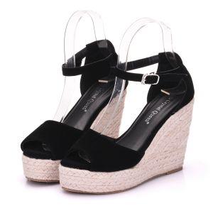 Bohemen Zwarte Strand Zomer Sandalen Dames 2018 Enkelband 9 cm Sleehakken Peep Toe Sandalen