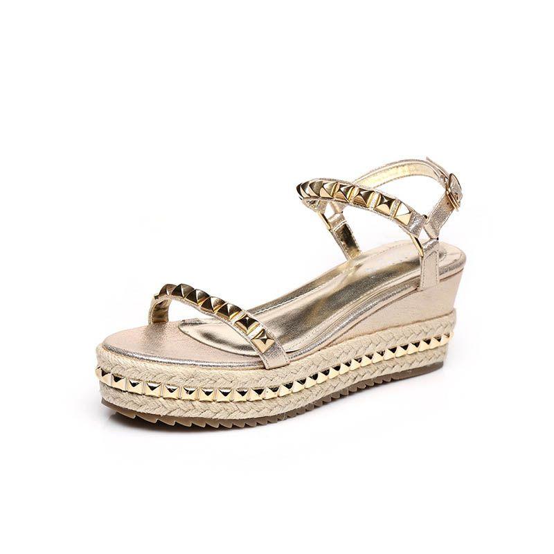 Chic / Beautiful Outdoor / Garden Womens Sandals 2017 PU Braid Rivet Open / Peep Toe Slipper