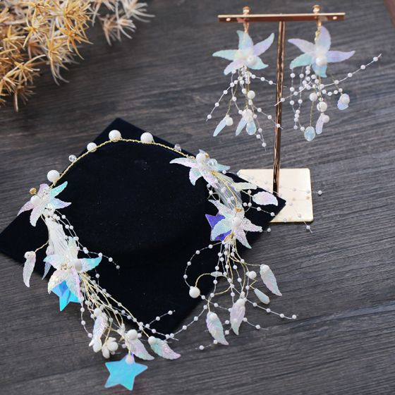 Modern / Fashion Multi-Colors Earrings Headpieces 2019 Star Beading Pearl Prom Wedding Accessories
